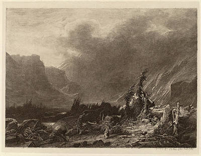 Storm Drawing - Alexandre Calame, Mountain Storm, Swiss, 1810 - 1864 by Quint Lox