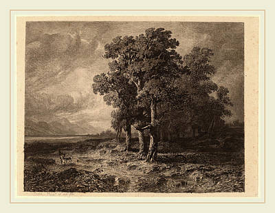 Storm Drawing - Alexandre Calame, Trees In A Storm, Swiss by Litz Collection