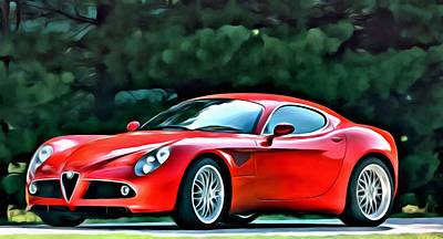 Reds Painting - Alfa Romeo 8c Competizione by Florian Rodarte