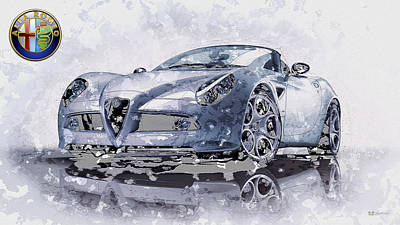 Digital Art - Alfa Romeo 8c Spider Concept With 3d Badge by Serge Averbukh