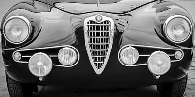 Photograph - Alfa Romeo Milano Grille -0016bw by Jill Reger
