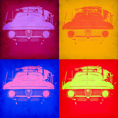 Vintage Cars Painting - Alfa Romeo  Pop Art 2 by Naxart Studio