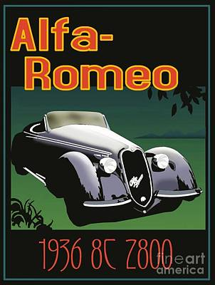 Painting - Alfa-romeo  Poster 1936 by Roberto Prusso