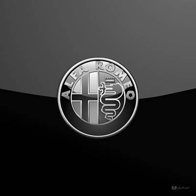 Digital Art - Alfa Romeo - Silver 3d Badge On Black by Serge Averbukh