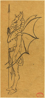 Griffin Drawing - Alfred Grévin French, 1827 - 1892, Figure Dressed by Quint Lox