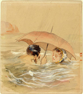 Alfred Grévin, French 1827-1892, Male And Female Bathers Art Print by Litz Collection
