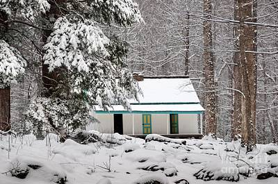 Art Print featuring the photograph Alfred Reagan's Home In Snow by Debbie Green