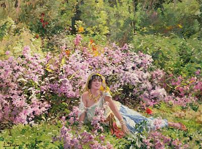 Algerian Beauty In A Lilac Field Art Print by Leon Louis Tanzi