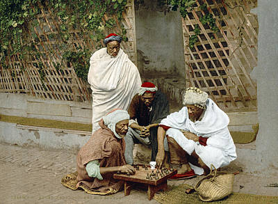 Chess Men Painting - Algiers Chess Game, C1899 by Granger