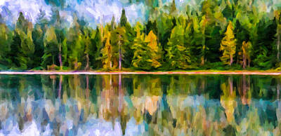 Reflections Of Sun In Water Painting - Algonquin Provincial Park by Lanjee Chee