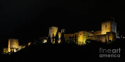 Art Print featuring the photograph Alhambra At Night by Rudi Prott