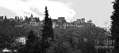 Alhambra Photograph - Alhambra Bw  Posterized Panorama by RicardMN Photography