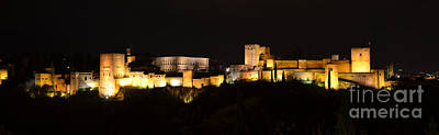 Alhambra Photograph - Alhambra Night Panoramic by RicardMN Photography