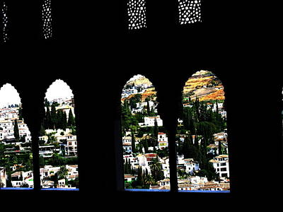Photograph - Alhambra Windows Grenada Spain by Jacqueline M Lewis