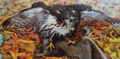 Red Tail Hawks Painting - Ali And Quints First by Ken Everett