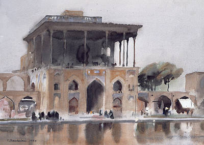 Persian Photograph - Ali Qapu Palace, Isfahan, 1994 Wc On Paper by Trevor Chamberlain
