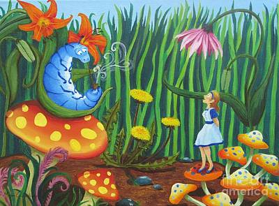 Alice In Wonderland Painting - Alice And The Blue Caterpillar by Morgan Leshinsky