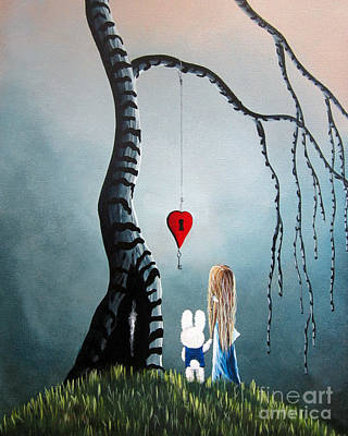 Surrealism Royalty Free Images - Alice In Wonderland Original Artwork - Alice And The Enchanted Key Royalty-Free Image by Fairy and Fairytale