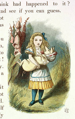 Alice And The Pig-baby Print by British Library