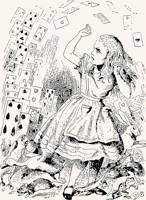 Wall Art - Drawing - Alice Attacked By Cards by John Tenniel