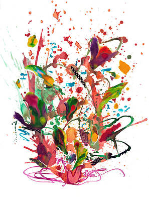 Fuschia Mixed Media - Alice Brought Flowers by Heather Moore