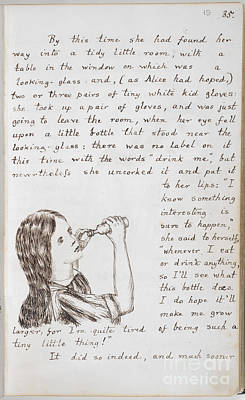 Alice Drinks To Grow Taller Print by British Library