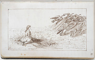 Alice Frightens Away The Birds Print by British Library