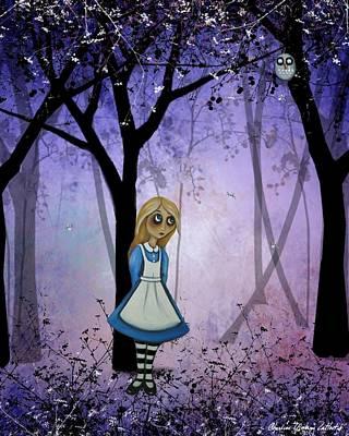 Alice In Wonderland Digital Art - Alice In An Enchanted Forest by Charlene Murray Zatloukal