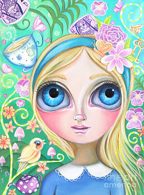Tea Party Painting - Alice In Pastel Land by Jaz Higgins