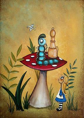 Alice In Wonderland Painting - Alice In Wonderland Art Alice And The Caterpillar by Charlene Murray Zatloukal