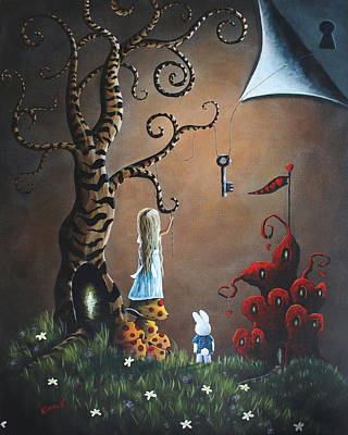 Outside Painting - Alice In Wonderland Original Artwork - Key To Wonderland by Shawna Erback