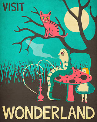 Wonderland Digital Art - Alice In Wonderland Travel Poster - Vintage Version by Jazzberry Blue