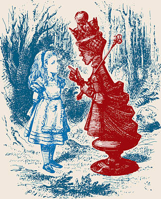 Alice Meeting The Red Queen Art Print by