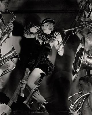 Wind Instrument Photograph - Alice White In Costume Surrounded By Men Playing by Florence Vandamm