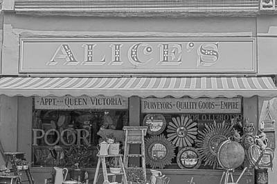 Alice's Antiques In Black And White Art Print by Georgia Fowler