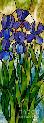 Youghiogheney Glass Glass Art - Alices Irises by David Kennedy