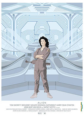 Science Fiction Digital Art - Alien 1979 Movie Poster - Feat. Ripley by Peter Cassidy
