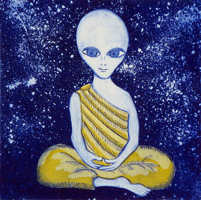 Buddah Painting - Alien Buddha With Stars by Nathan Winsor