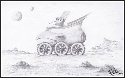Drawing - Alien Buggy by Steven Powers SMP