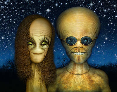 Digital Art - Alien Couple by James Larkin