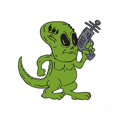 Cartoon Alien Digital Art - Alien Dinosaur Holding Ray Gun Cartoon by Aloysius Patrimonio