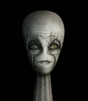 Digital Art - Alien Face by James Larkin