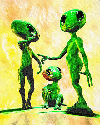 Painting - Alien Family Unit by Bob Orsillo