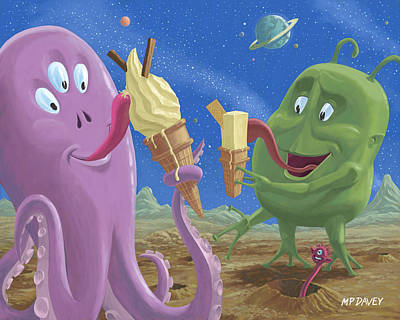 Cartoon Painting - Alien Ice Cream by Martin Davey