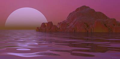 Spacescape Digital Art - Alien Moonglow by Wayne Bonney