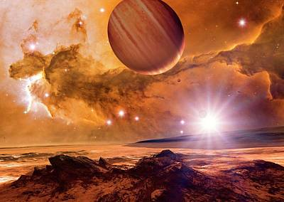 Alien Planet And Eagle Nebula Art Print by Detlev Van Ravenswaay