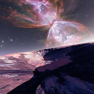 Alien Planet And Nebula Art Print