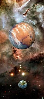Alien Planets And Carina Nebula Art Print by Detlev Van Ravenswaay