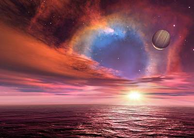 Alien Planets And Exploding Star Art Print