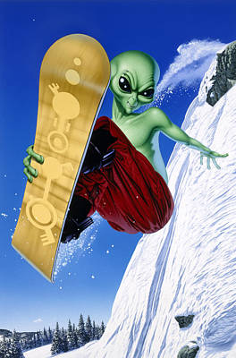 Ufo Photograph - Alien Snowboarder by Steve Read